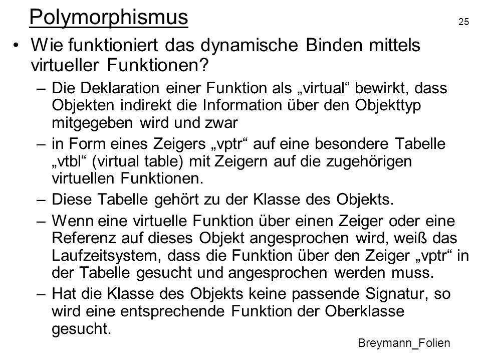 25 Polymorphismus Breymann_Folien Wie funktioniert das dynamische Binden mittels virtueller Funktionen? –Die Deklaration einer Funktion als virtual be