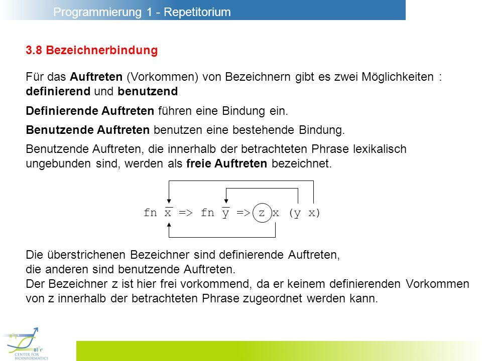 Programmierung 1 - Repetitorium 3.8 Bezeichnerbindung Für das Auftreten (Vorkommen) von Bezeichnern gibt es zwei Möglichkeiten : definierend und benut