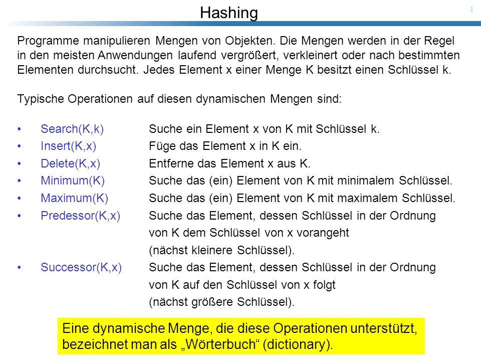 Hashing 12 Satz [1]: In einer Hash-Tabelle, in der Kollisionen mit Chaining aufgelöst werden, benötigt eine Suche (unter der Annahme: einfaches uniformes Hashing) im Durchschnitt erwartete Zeit (1+ ).
