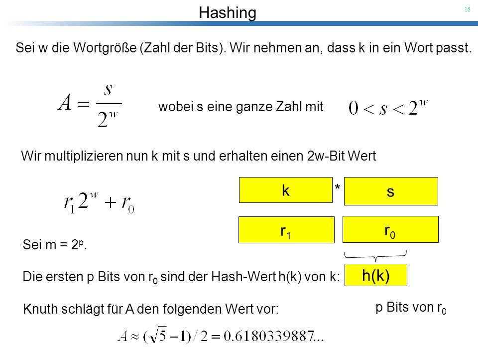 Hashing 16 Sei w die Wortgröße (Zahl der Bits). Wir nehmen an, dass k in ein Wort passt. wobei s eine ganze Zahl mit Wir multiplizieren nun k mit s un