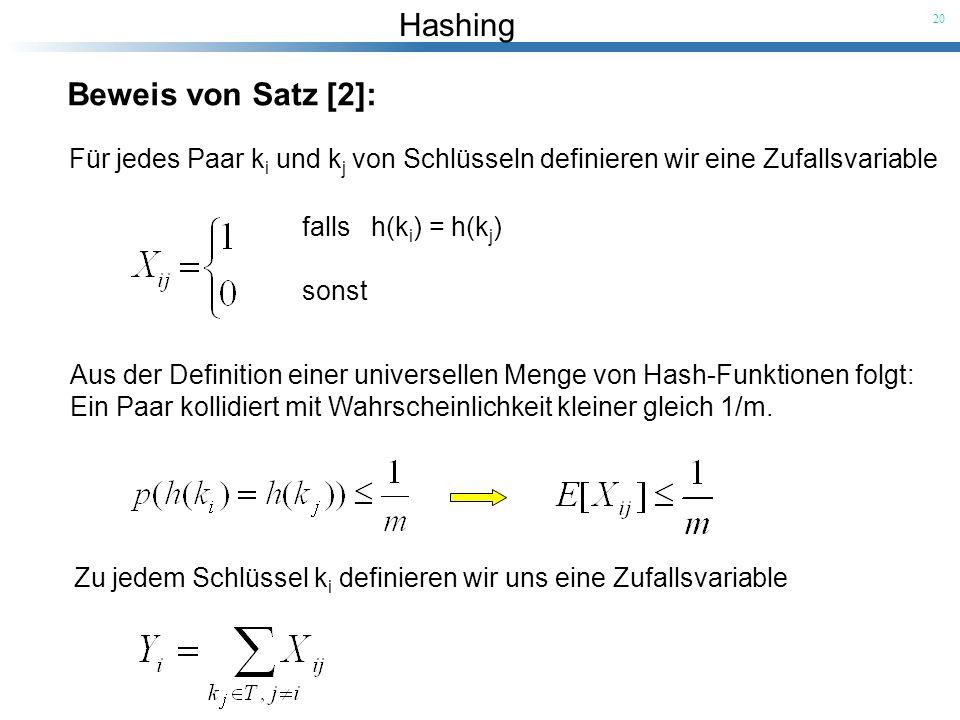 Hashing 20 Beweis von Satz [2]: Für jedes Paar k i und k j von Schlüsseln definieren wir eine Zufallsvariable falls h(k i ) = h(k j ) sonst Aus der De