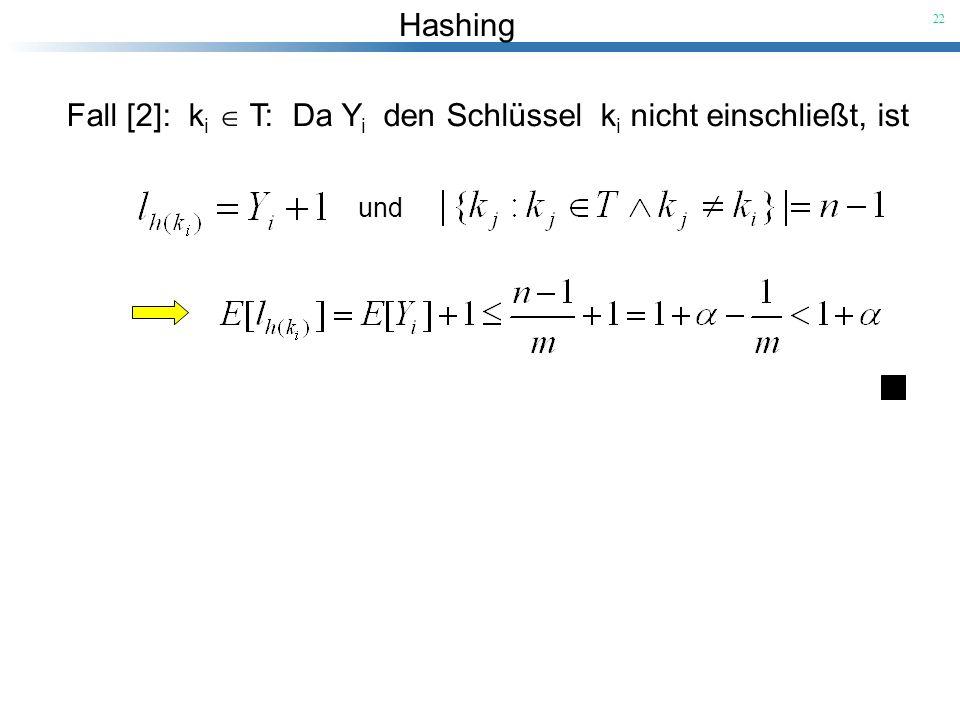 Hashing 22 Fall [2]: k i T: Da Y i den Schlüssel k i nicht einschließt, ist und