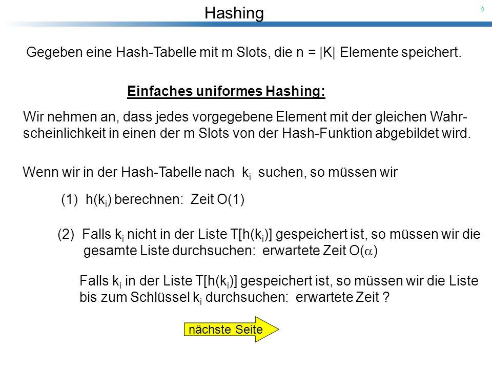 Hashing 9 Wenn wir in der Hash-Tabelle nach k i suchen, so müssen wir (1) h(k i ) berechnen: Zeit O(1) (2)Falls k i nicht in der Liste T[h(k i )] gesp