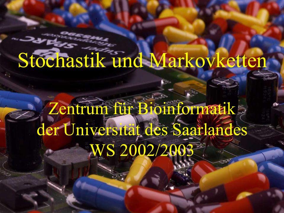 Stochastik und Markovketten 12 Markovketten Ein stochastischer Prozess ist eine Menge von Zufallsvariablen {X(t) | t 2 T}.