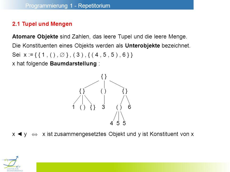 Programmierung 1 - Repetitorium 2.1 Tupel und Mengen Atomare Objekte sind Zahlen, das leere Tupel und die leere Menge.