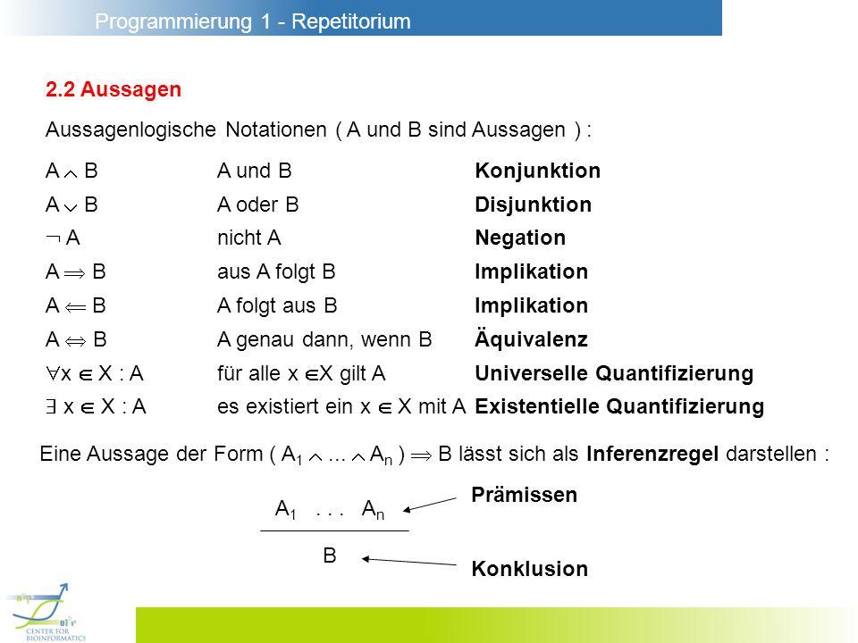 Programmierung 1 - Repetitorium 2.2 Aussagen A BA und BKonjunktion A BA oder BDisjunktion Anicht ANegation A Baus A folgt BImplikation A BA folgt aus