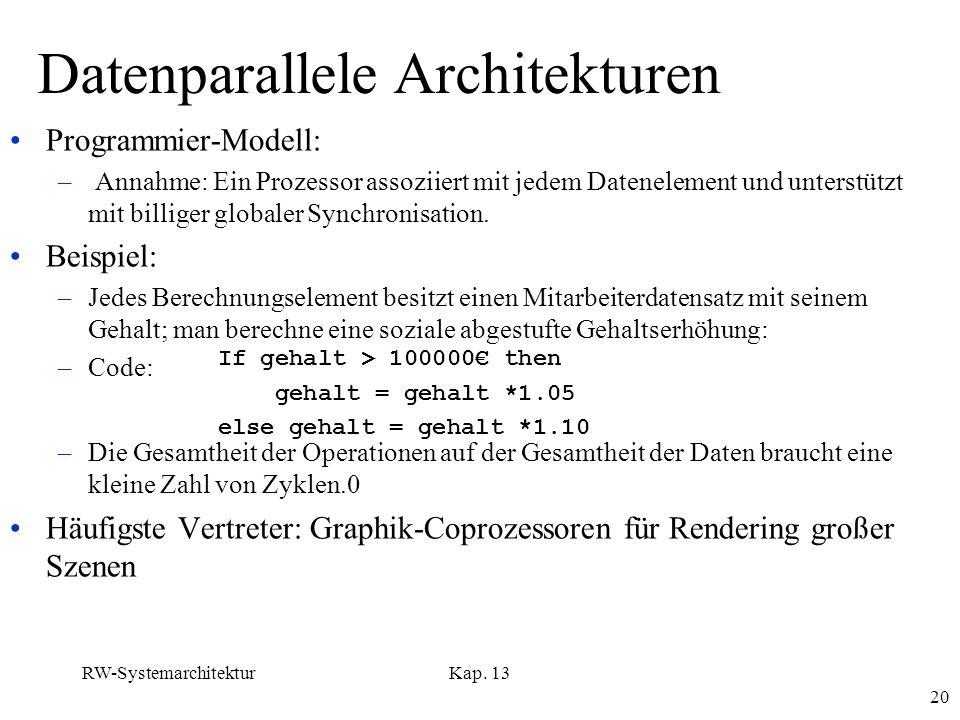 RW-SystemarchitekturKap. 13 20 Datenparallele Architekturen Programmier-Modell: – Annahme: Ein Prozessor assoziiert mit jedem Datenelement und unterst