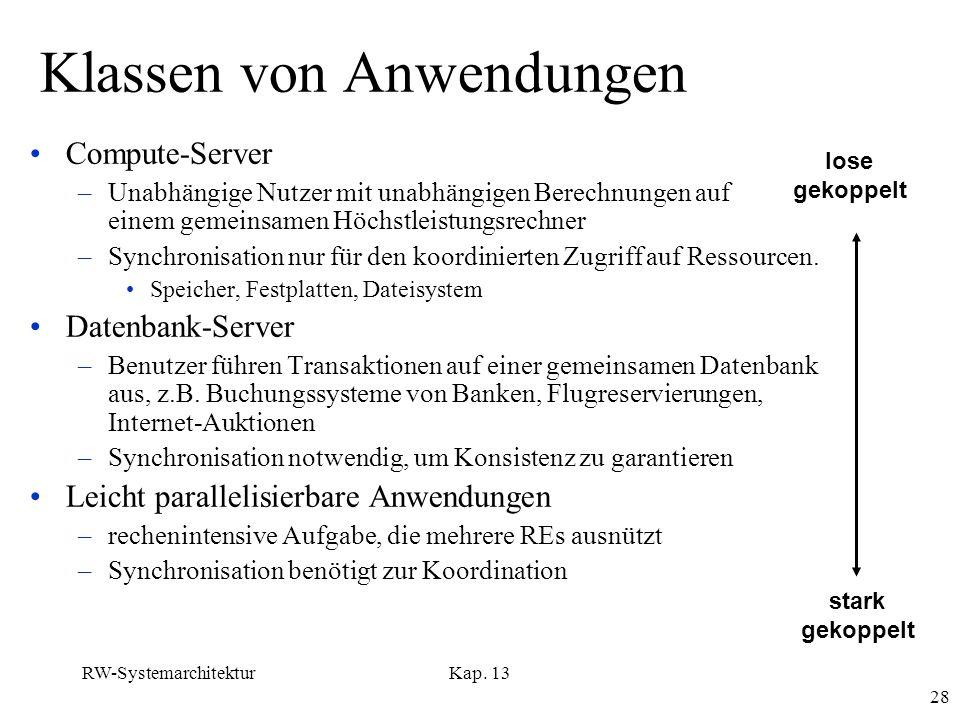 RW-SystemarchitekturKap. 13 28 Klassen von Anwendungen Compute-Server –Unabhängige Nutzer mit unabhängigen Berechnungen auf einem gemeinsamen Höchstle