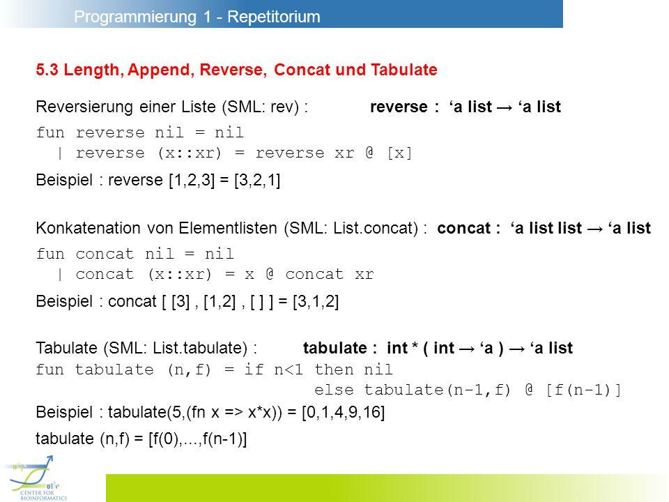 Programmierung 1 - Repetitorium 5.3 Length, Append, Reverse, Concat und Tabulate Reversierung einer Liste (SML: rev) :reverse : a list a list fun reverse nil = nil | reverse (x::xr) = reverse xr @ [x] Beispiel : reverse [1,2,3] = [3,2,1] Tabulate (SML: List.tabulate) :tabulate : int * ( int a ) a list fun tabulate (n,f) = if n<1 then nil else tabulate(n-1,f) @ [f(n-1)] Beispiel : tabulate(5,(fn x => x*x)) = [0,1,4,9,16] Konkatenation von Elementlisten (SML: List.concat) :concat : a list list a list fun concat nil = nil | concat (x::xr) = x @ concat xr Beispiel : concat [ [3], [1,2], [ ] ] = [3,1,2] tabulate (n,f) = [f(0),...,f(n-1)]