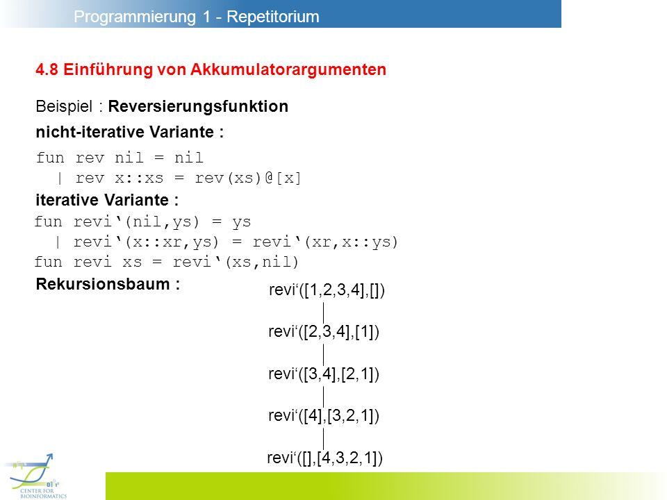 Programmierung 1 - Repetitorium 4.8 Einführung von Akkumulatorargumenten fun rev nil = nil | rev x::xs = rev(xs)@[x] iterative Variante : Beispiel : R