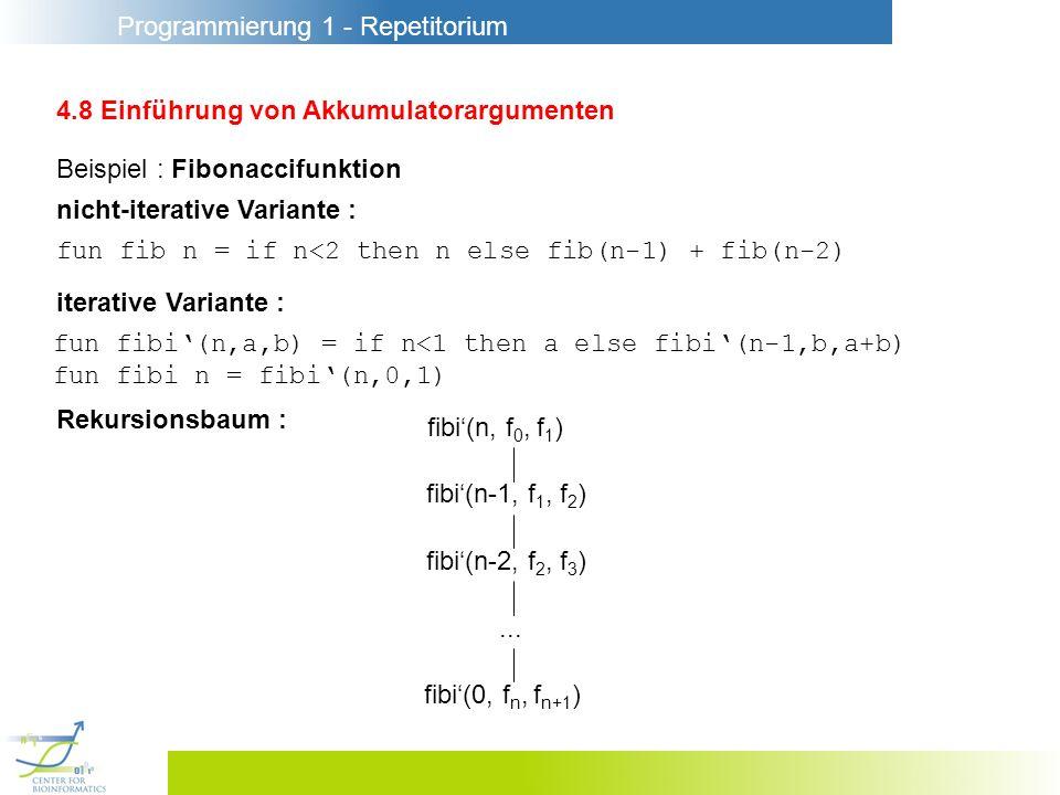 Programmierung 1 - Repetitorium 4.8 Einführung von Akkumulatorargumenten fun fib n = if n<2 then n else fib(n-1) + fib(n-2) iterative Variante : Beisp