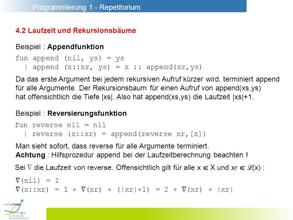 Programmierung 1 - Repetitorium 4.2 Laufzeit und Rekursionsbäume Beispiel : Appendfunktion fun append (nil, ys) = ys | append (x::xr, ys) = x :: appen