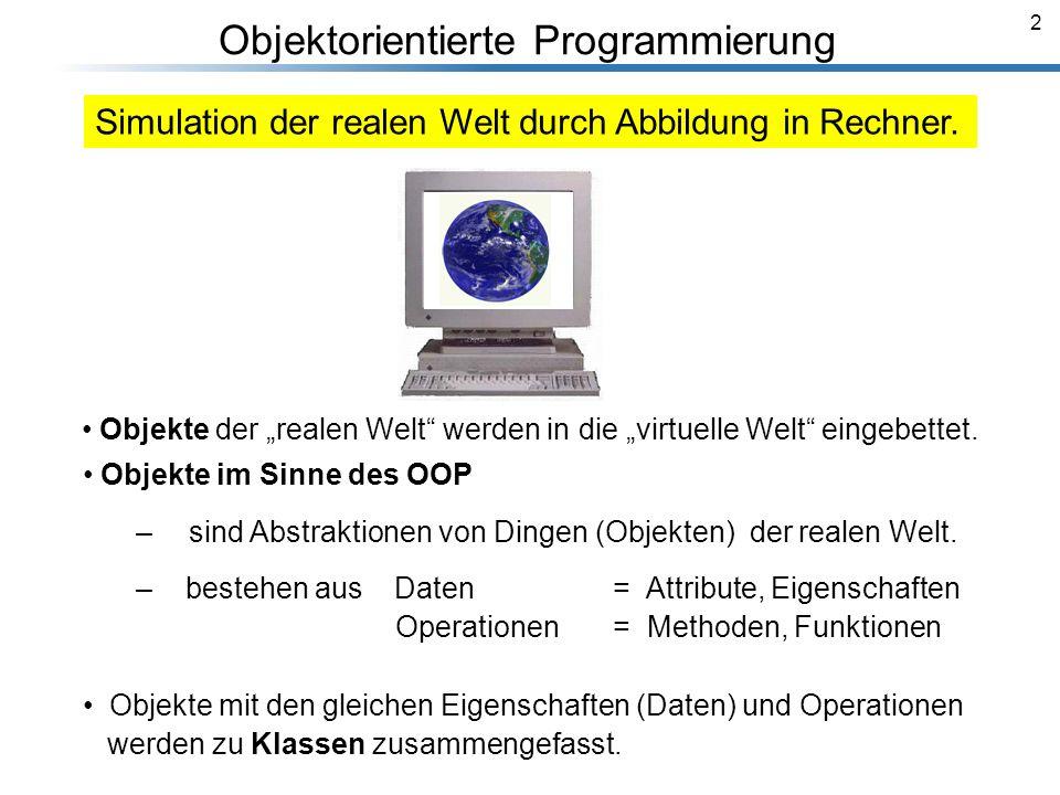 2 Breymann_Folien Objektorientierte Programmierung Objekte im Sinne des OOP – sind Abstraktionen von Dingen (Objekten) der realen Welt. – bestehen aus