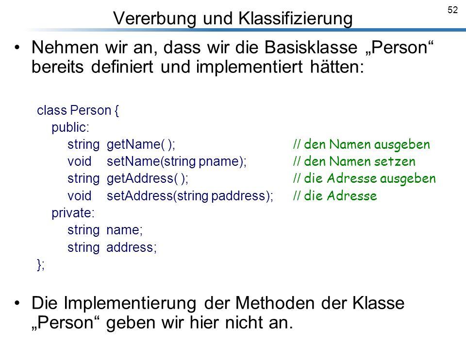 52 Vererbung und Klassifizierung Breymann_Folien Nehmen wir an, dass wir die Basisklasse Person bereits definiert und implementiert hätten: class Pers
