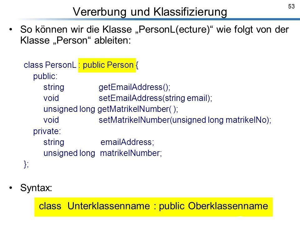 53 Vererbung und Klassifizierung Breymann_Folien So können wir die Klasse PersonL(ecture) wie folgt von der Klasse Person ableiten: class PersonL : pu