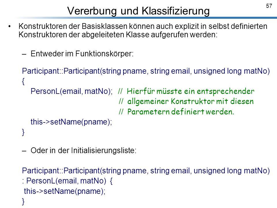 57 Vererbung und Klassifizierung Breymann_Folien Konstruktoren der Basisklassen können auch explizit in selbst definierten Konstruktoren der abgeleite