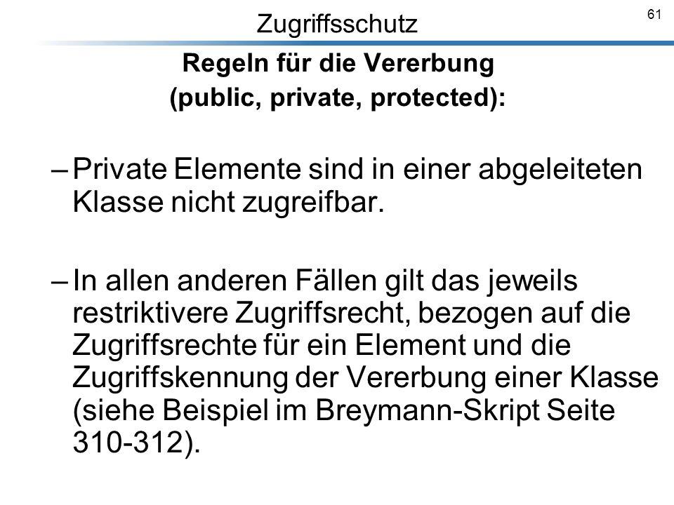 61 Zugriffsschutz Regeln für die Vererbung (public, private, protected): –Private Elemente sind in einer abgeleiteten Klasse nicht zugreifbar. –In all