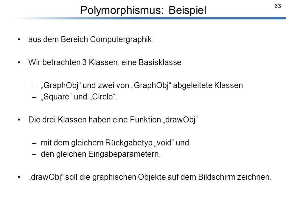 63 Polymorphismus: Beispiel aus dem Bereich Computergraphik: Wir betrachten 3 Klassen, eine Basisklasse –GraphObj und zwei von GraphObj abgeleitete Kl