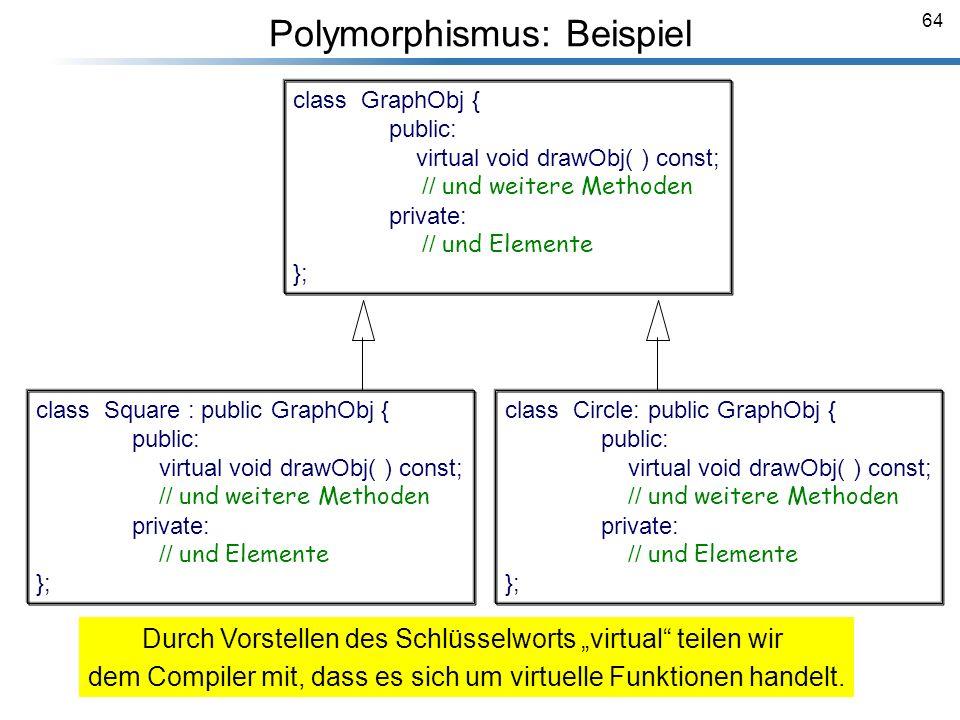 64 Breymann_Folien class GraphObj { public: virtual void drawObj( ) const; // und weitere Methoden private: // und Elemente }; class Square : public G