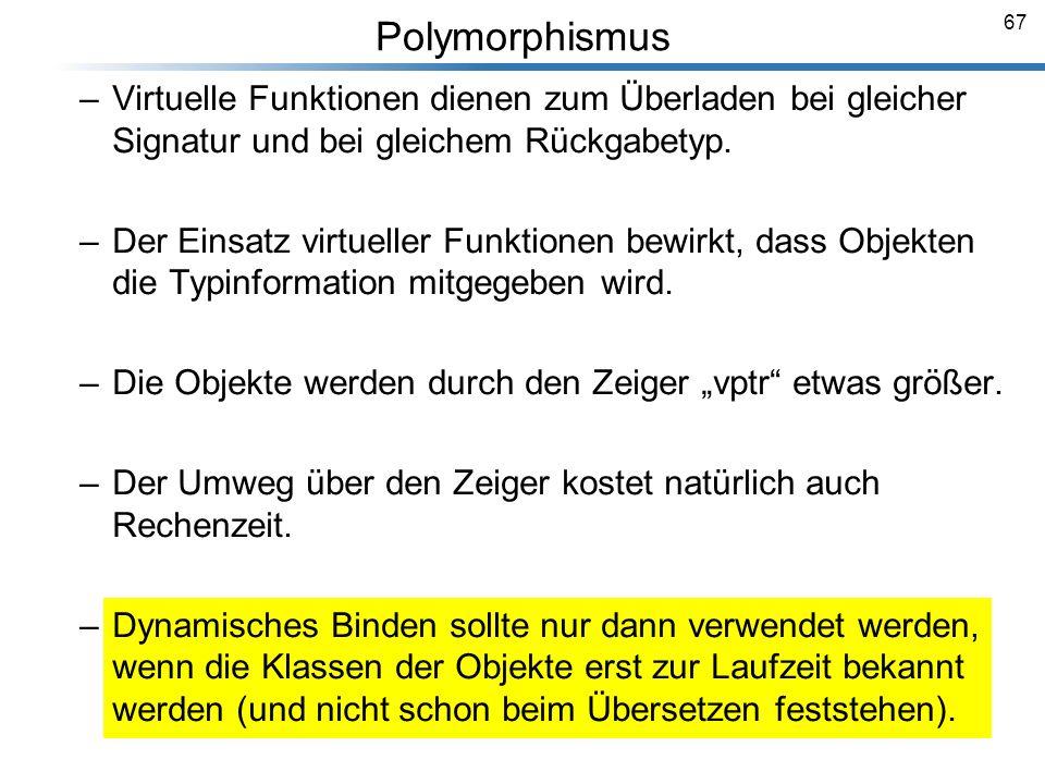 67 Polymorphismus Breymann_Folien –Virtuelle Funktionen dienen zum Überladen bei gleicher Signatur und bei gleichem Rückgabetyp. –Der Einsatz virtuell