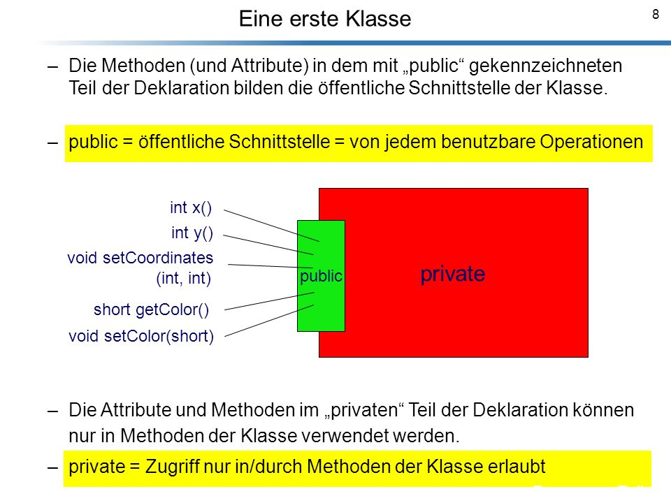 69 Abstrakte Klassen Breyma nn_Foli en class GraphObj { public: virtual void drawObj( ) const; // und weitere Methoden private: // und Elemente }; class Square : public GraphObj { public: virtual void drawObj( ) const; // und weitere Methoden private: // und Elemente }; class Circle: public GraphObj { public: virtual void drawObj( ) const; // und weitere Methoden private: // und Elemente }; virtual void drawObj( ) const = 0; Durch Ergänzung = 0 wird die Funktion zur rein virtuellen Funktion.