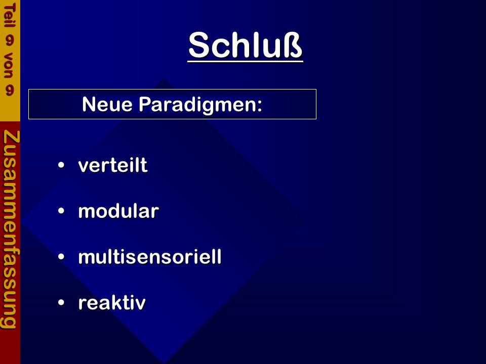 Schluß Zusammenfassung Neue Paradigmen: verteilt modular multisensoriell reaktiv