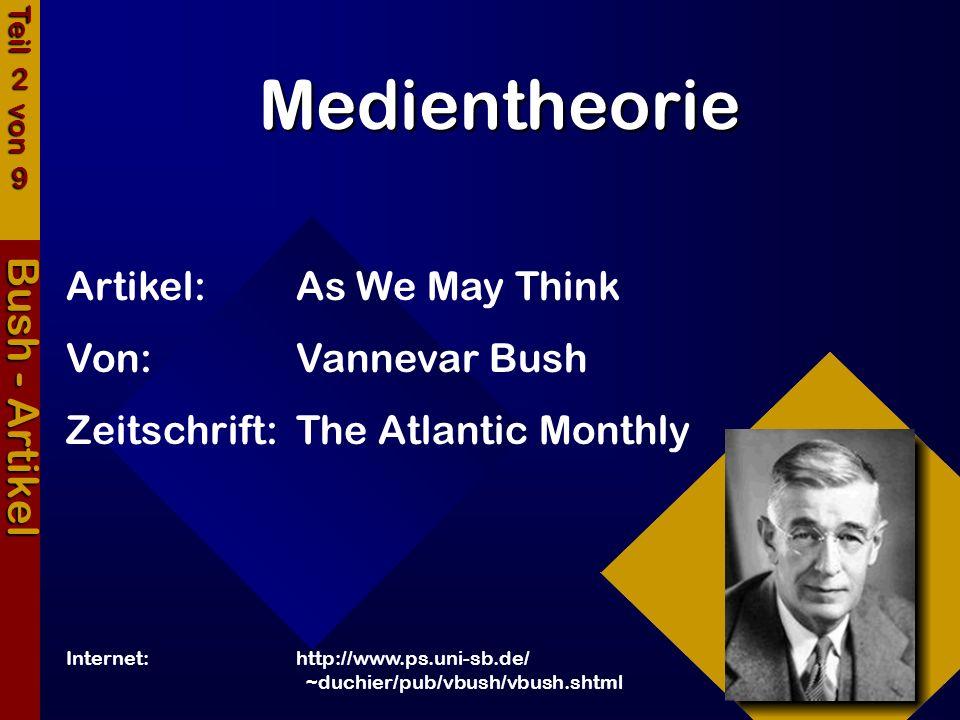 Medientheorie Bush - Artikel Artikel:As We May Think Von:Vannevar Bush Zeitschrift:The Atlantic Monthly Internet:http://www.ps.uni-sb.de/ ~duchier/pub