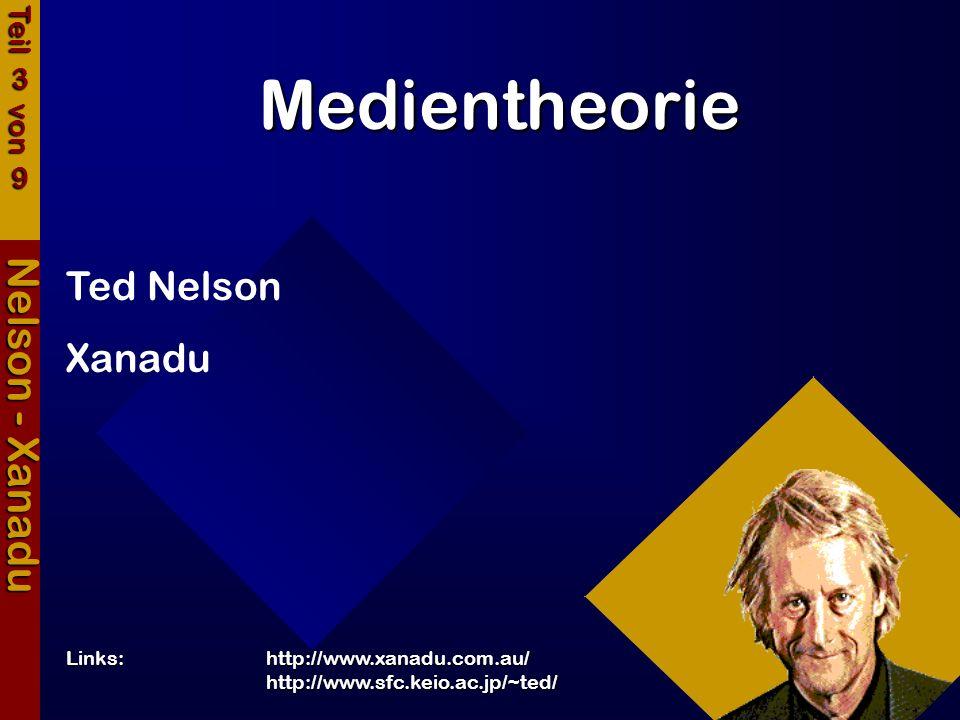 Medientheorie Nelson - Xanadu Ted Nelson Xanadu Links:http://www.xanadu.com.au/ http://www.sfc.keio.ac.jp/~ted/ Teil 3 von 9