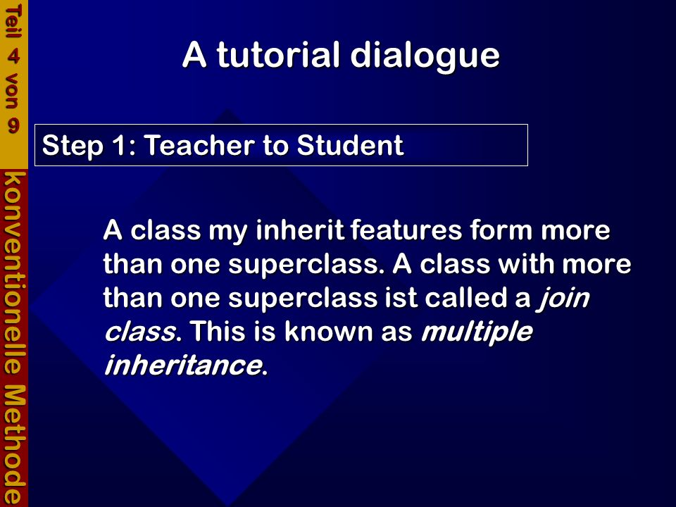 A tutorial dialogue konventionelle Methode Step 2: Student to Teacher Teil 4 von 9 A join class can inherit features from more than one superclass.