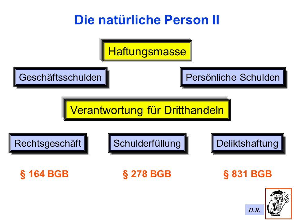 H.R. Die natürliche Person II Haftungsmasse Geschäftsschulden Persönliche Schulden Verantwortung für Dritthandeln Rechtsgeschäft Schulderfüllung Delik