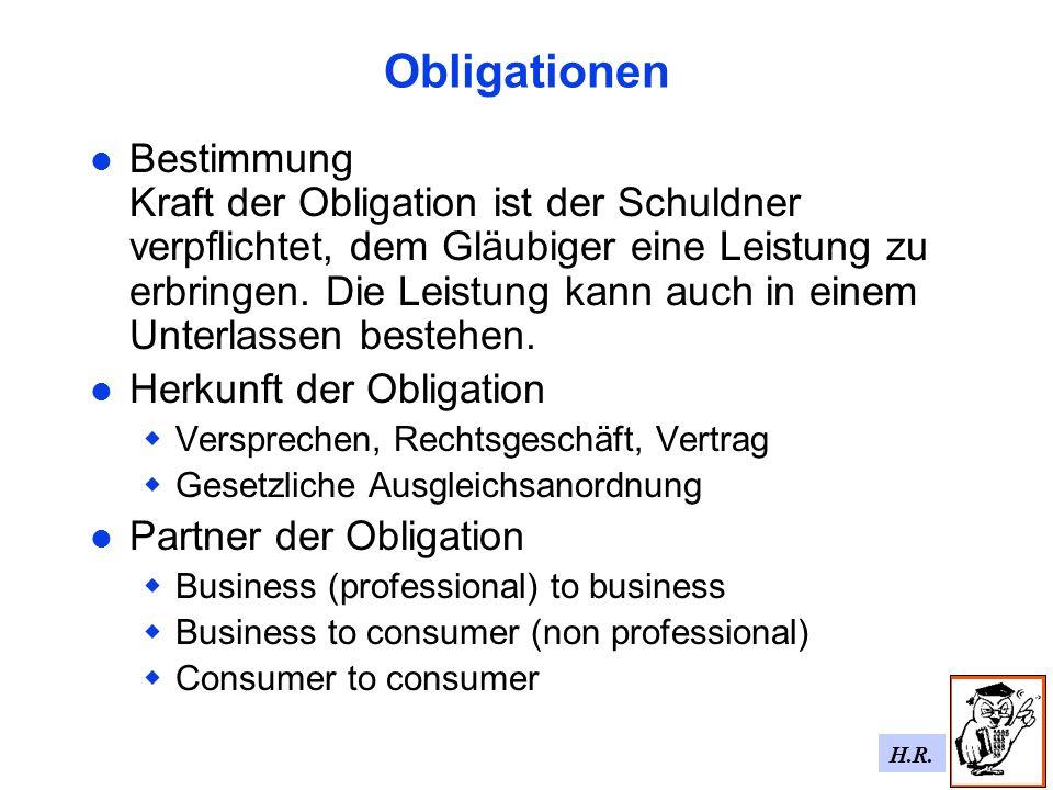 H.R.Ziel der geplanten Regelung Ein umfassendes Gesetzbuch für alle Arten von Obligationen.