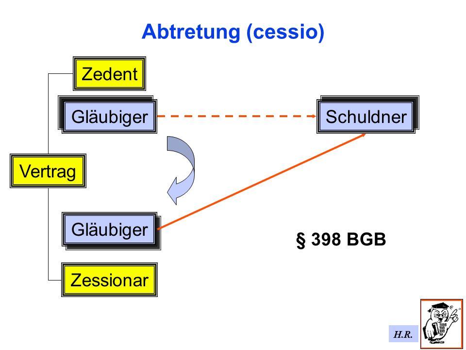 H.R. Abtretung (cessio) Gläubiger Schuldner Vertrag Gläubiger Zessionar Zedent § 398 BGB