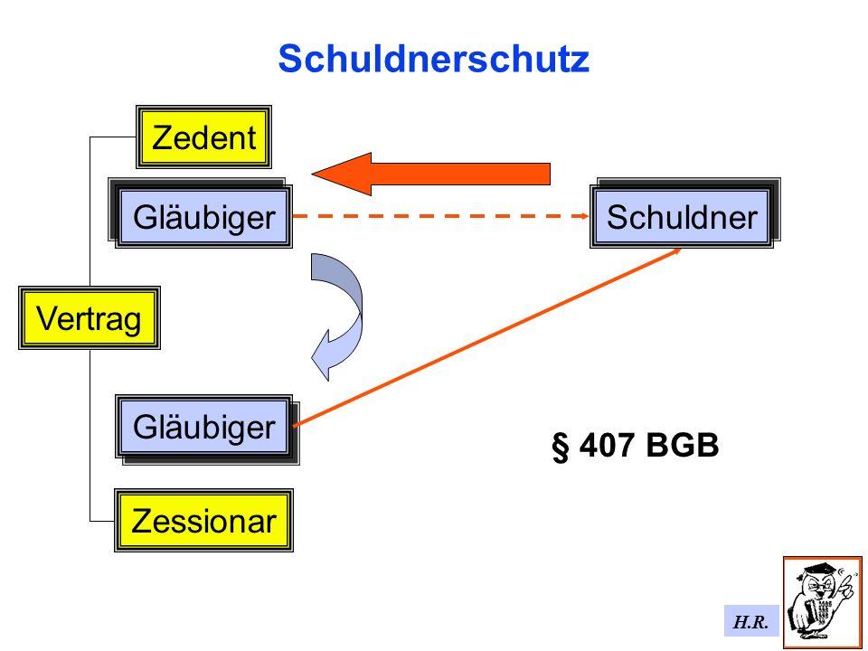 H.R. Schuldnerschutz Gläubiger Schuldner Vertrag Gläubiger Zessionar Zedent § 407 BGB