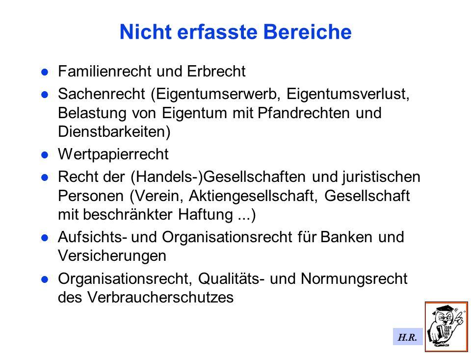 H.R. Nicht erfasste Bereiche Familienrecht und Erbrecht Sachenrecht (Eigentumserwerb, Eigentumsverlust, Belastung von Eigentum mit Pfandrechten und Di