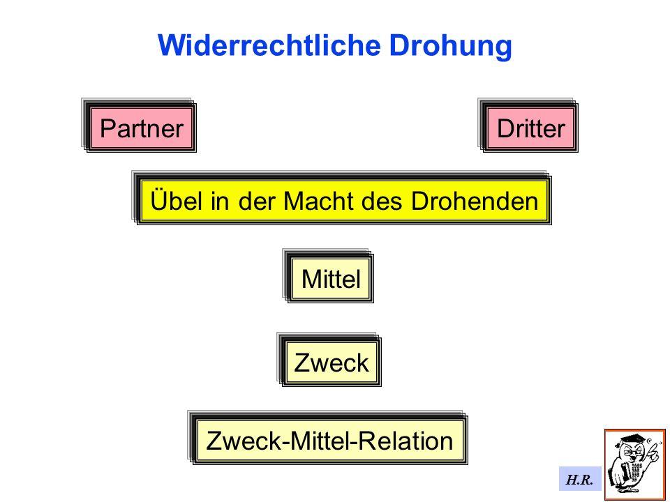 H.R. Widerrechtliche Drohung Mittel Zweck-Mittel-Relation Zweck PartnerDritter Übel in der Macht des Drohenden