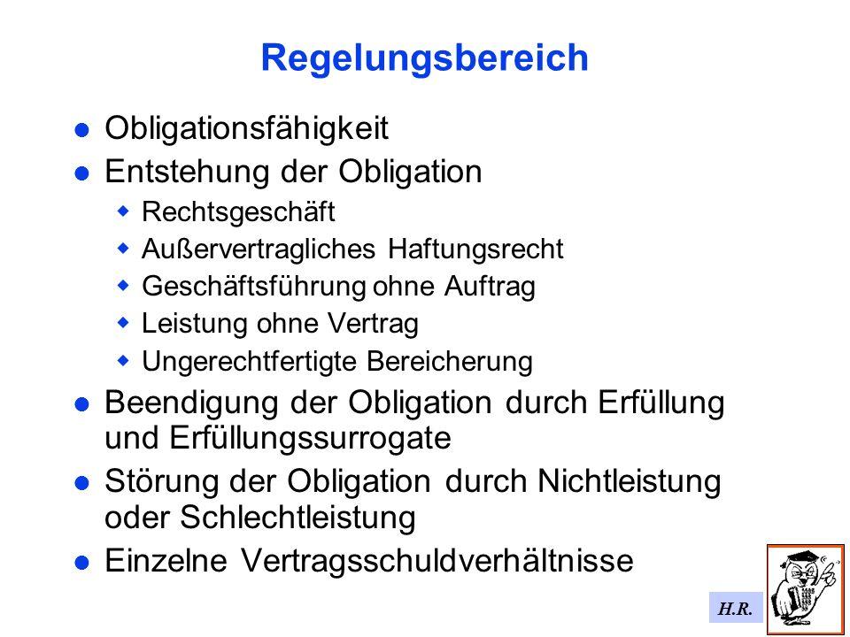 H.R. Regelungsbereich Obligationsfähigkeit Entstehung der Obligation Rechtsgeschäft Außervertragliches Haftungsrecht Geschäftsführung ohne Auftrag Lei