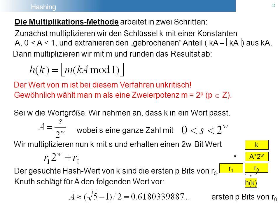 Hashing 11 Die Multiplikations-Methode arbeitet in zwei Schritten: Der Wert von m ist bei diesem Verfahren unkritisch! Gewöhnlich wählt man m als eine