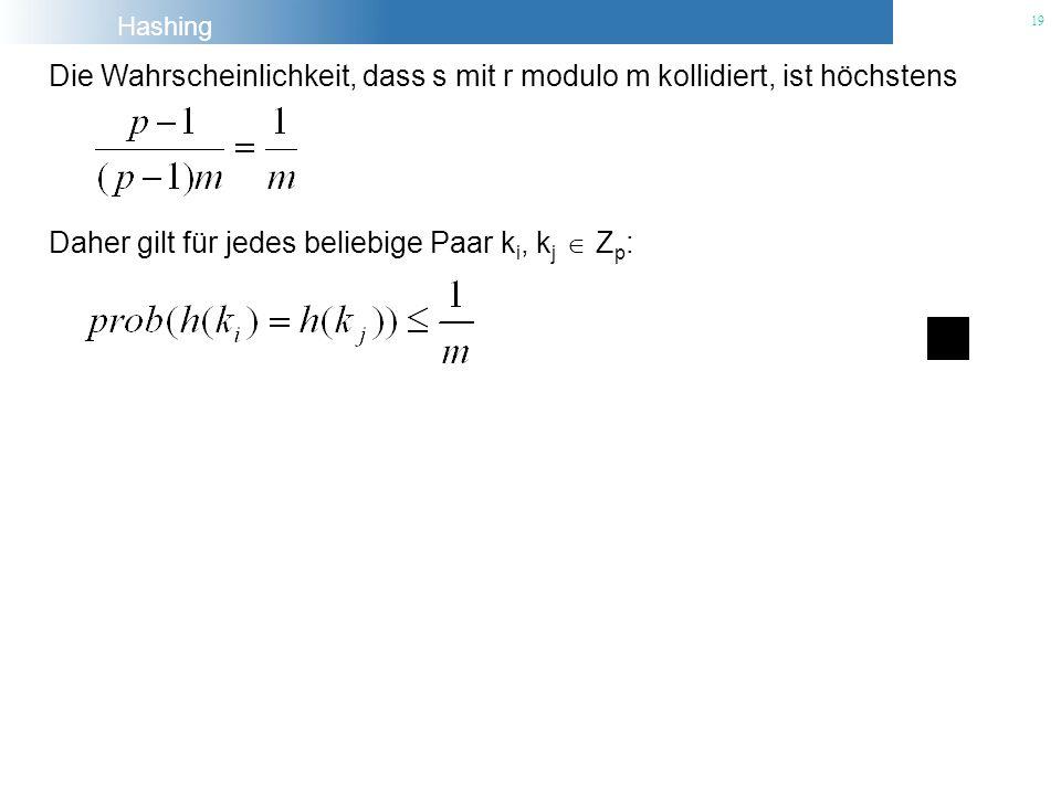 Hashing 19 Die Wahrscheinlichkeit, dass s mit r modulo m kollidiert, ist höchstens Daher gilt für jedes beliebige Paar k i, k j Z p :
