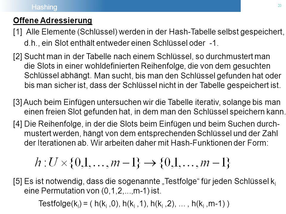 Hashing 20 Offene Adressierung [1] Alle Elemente (Schlüssel) werden in der Hash-Tabelle selbst gespeichert, d.h., ein Slot enthält entweder einen Schl