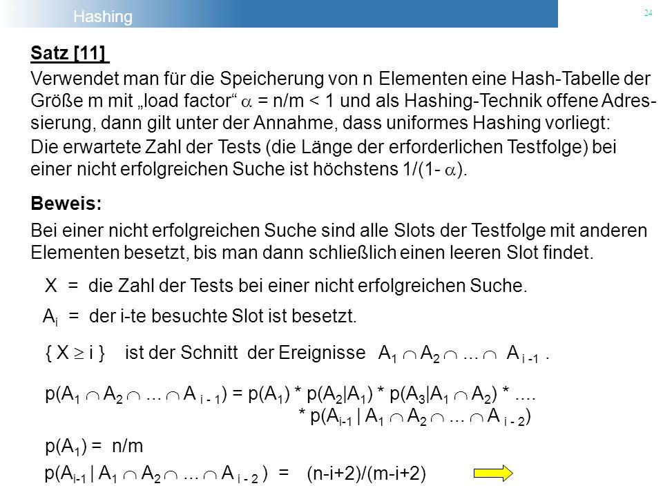 Hashing 24 Satz [11] Verwendet man für die Speicherung von n Elementen eine Hash-Tabelle der Größe m mit load factor = n/m < 1 und als Hashing-Technik