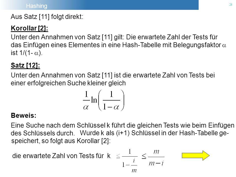 Hashing 26 Aus Satz [11] folgt direkt: Korollar [2]: Satz [12]: Unter den Annahmen von Satz [11] ist die erwartete Zahl von Tests bei einer erfolgreic