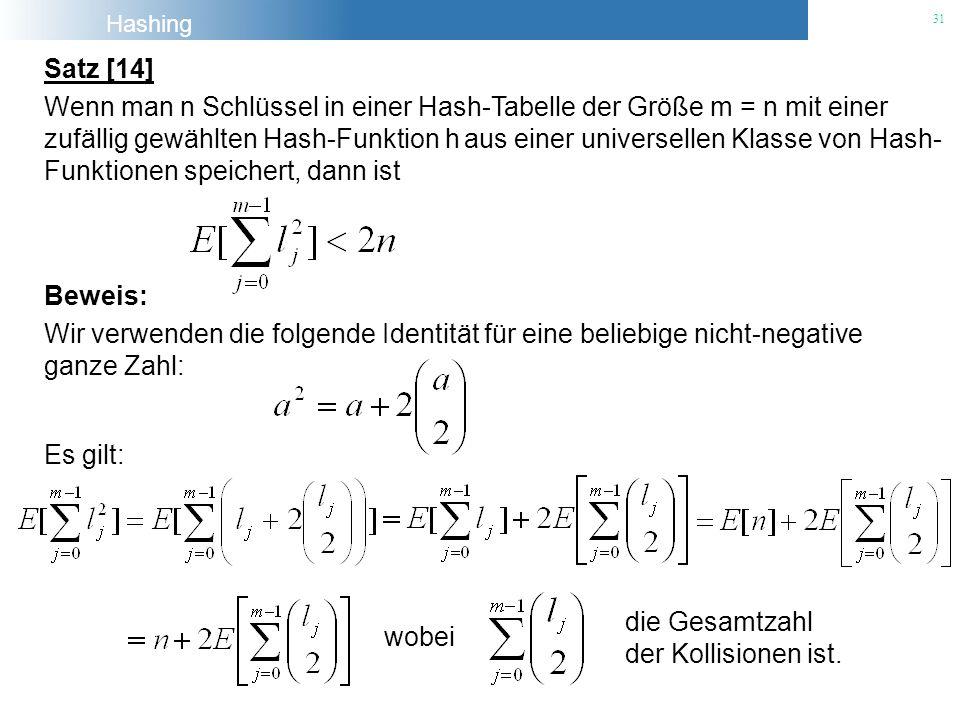 Hashing 31 Satz [14] Wenn man n Schlüssel in einer Hash-Tabelle der Größe m = n mit einer zufällig gewählten Hash-Funktion h aus einer universellen Kl