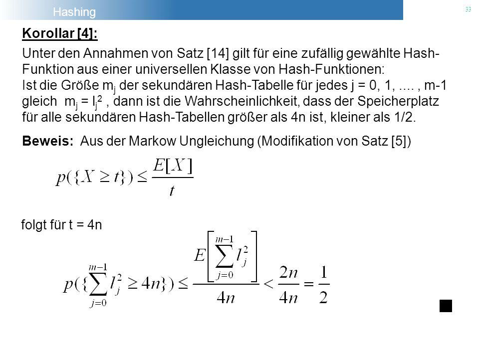Hashing 33 Beweis: Aus der Markow Ungleichung (Modifikation von Satz [5]) Korollar [4]: Unter den Annahmen von Satz [14] gilt für eine zufällig gewähl