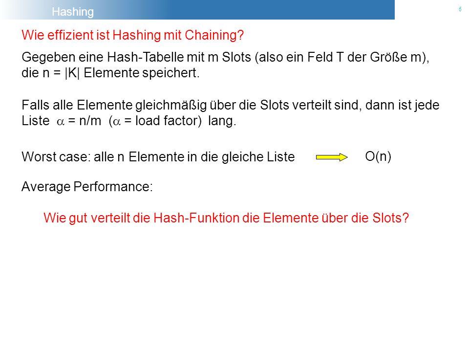 Hashing 6 Wie effizient ist Hashing mit Chaining? Gegeben eine Hash-Tabelle mit m Slots (also ein Feld T der Größe m), die n = |K| Elemente speichert.