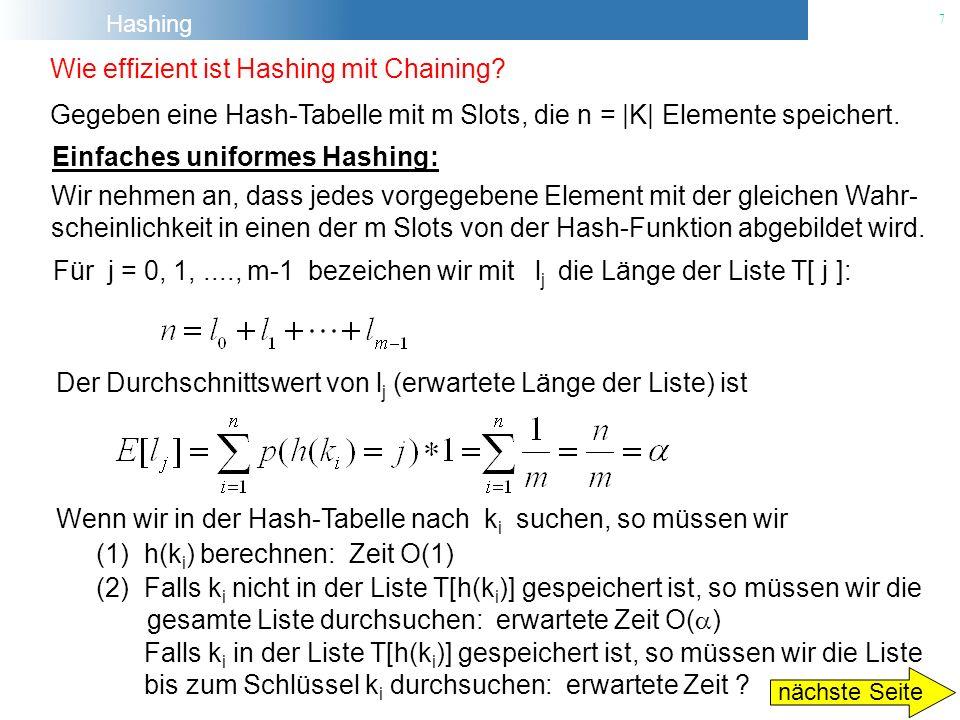 Hashing 7 Wie effizient ist Hashing mit Chaining? Gegeben eine Hash-Tabelle mit m Slots, die n = |K| Elemente speichert. Einfaches uniformes Hashing: