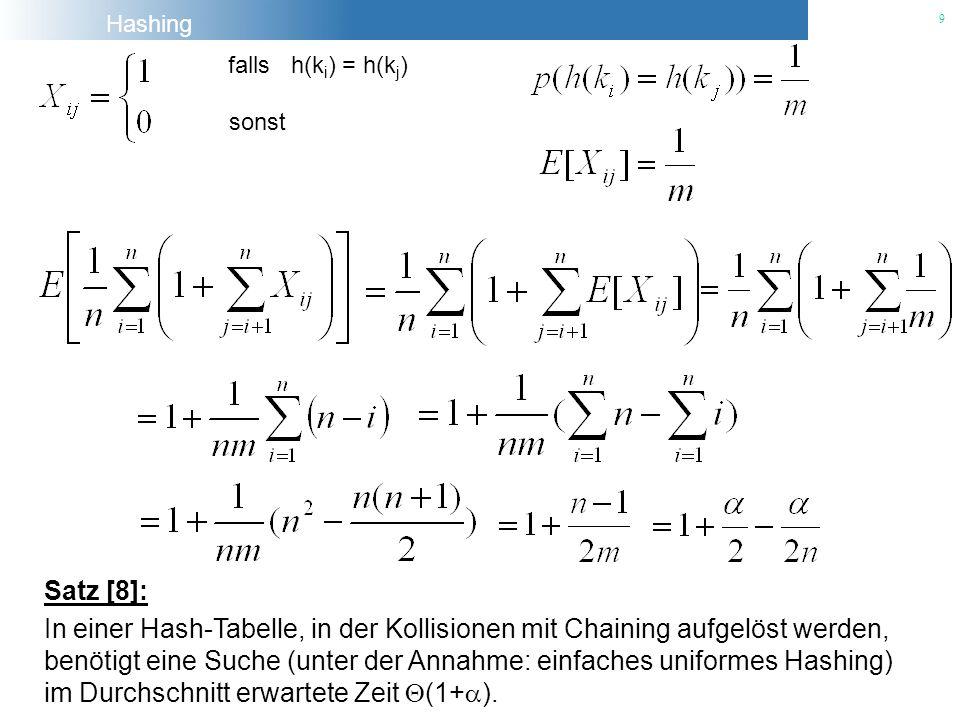 Hashing 9 Satz [8]: In einer Hash-Tabelle, in der Kollisionen mit Chaining aufgelöst werden, benötigt eine Suche (unter der Annahme: einfaches uniform