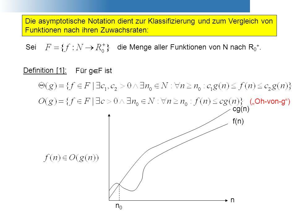 (Oh-von-g) Die asymptotische Notation dient zur Klassifizierung und zum Vergleich von Funktionen nach ihren Zuwachsraten: Definition [1]: Für g F ist