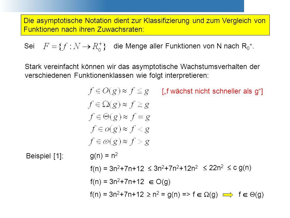 Stark vereinfacht können wir das asymptotische Wachstumsverhalten der verschiedenen Funktionenklassen wie folgt interpretieren: Die asymptotische Nota