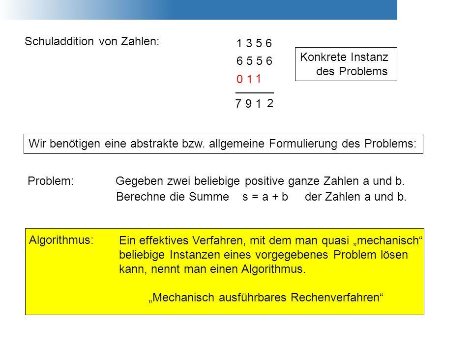 Schuladdition von Zahlen: 1 3 5 6 6 5 5 6 ______ 2 1 1 1 9 0 7 Problem:Gegeben zwei beliebige positive ganze Zahlen a und b. Berechne die Summe s = a