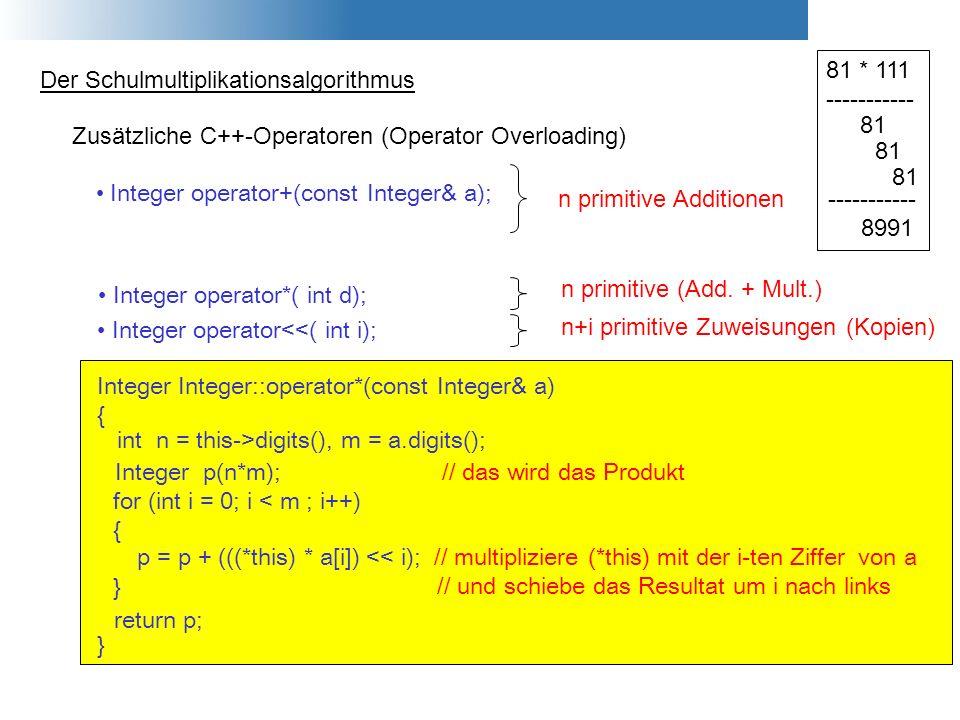 Der Schulmultiplikationsalgorithmus 81 * 111 ----------- 81 ----------- 8991 Zusätzliche C++-Operatoren (Operator Overloading) Integer operator*( int